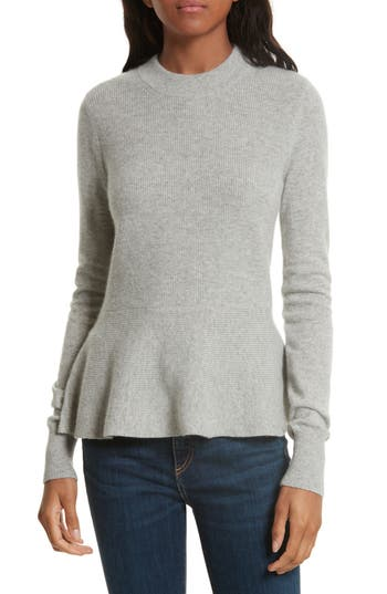Women's Veronica Beard Raleigh Cashmere Peplum Sweater, Size Large - Grey