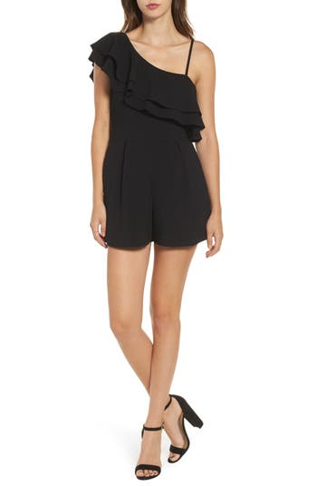 Women's Speechless Ruffle One-Shoulder Romper, Size X-Small - Black