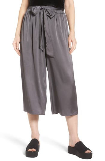Women's Soprano Crop Satin Wide Leg Pants, Size X-Small - Black