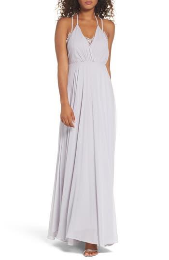 Women's Lulus Celebrate The Moment Lace Trim Chiffon Maxi Dress, Size X-Small - Grey