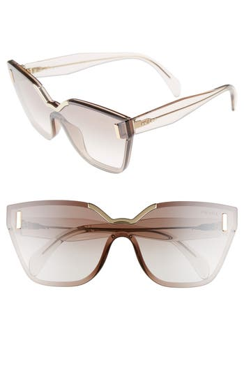 Women's Prada 61Mm Mirrored Shield Sunglasses -