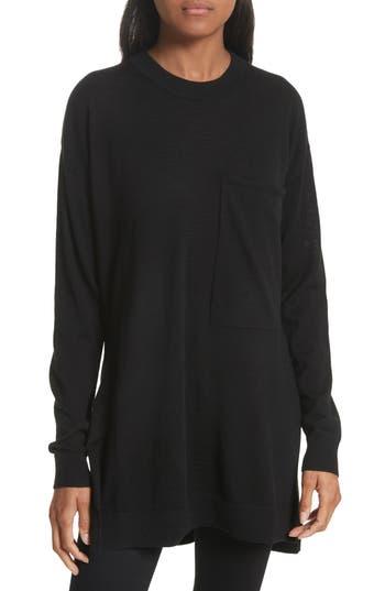 Women's Joseph Fine Merino Wool Tunic Sweater, Size Medium - Black