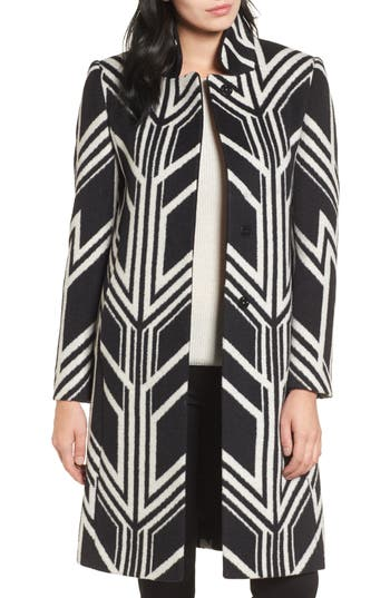 1920s Style Coats Womens Kenneth Cole New York Art Deco Print Coat $129.90 AT vintagedancer.com