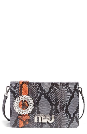 Miu Miu Genuine Python Shoulder Bag - Blue