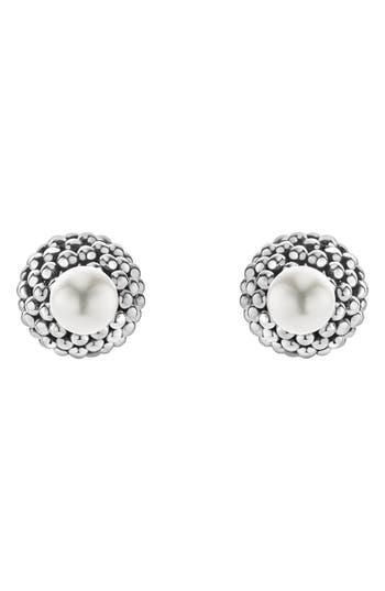 Women's Lagos Caviar & Pearl Stud Earrings
