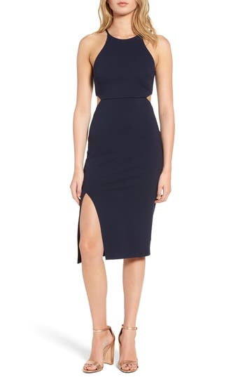 Women's Soprano Side Cutout Body Con Dress, Size Medium - Blue/green