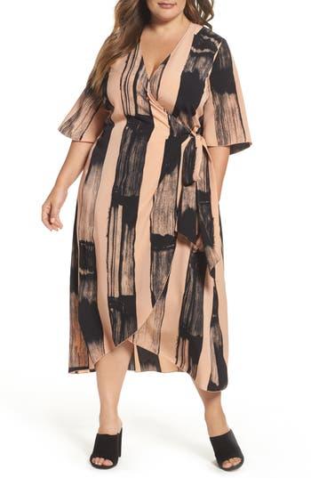 Plus Size Women's Melissa Mccarthy Seven7 Print Wrap Dress, Size 1X - Pink