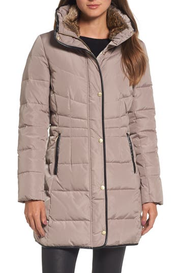 Cole Haan Quilted Down & Feather Fill Jacket With Faux Fur Trim, Beige