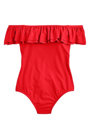Women's J.crew Off The Shoulder Ruffle One-Piece Swimsuit, Size 14 - Red