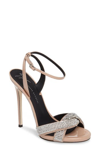 Women's Giuseppe Zanotti Embellished Wrap Strap Sandal, Size 7.5 M - Beige