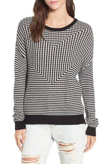 Women's Rvca Light Up Stripe Sweater, Size X-Small - Black
