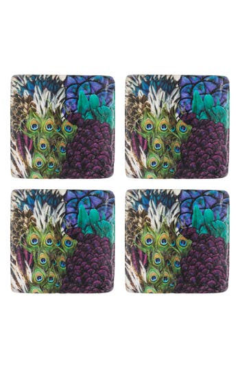 Eightmood Flair Set Of 4 Resin Coasters, Size One Size - Purple