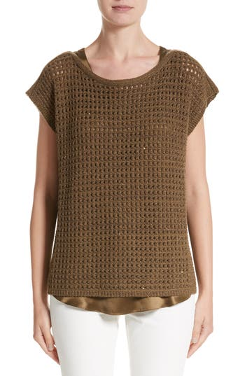 Women's Lafayette 148 New York Cashmere Open Stitch Sequin Sweater, Size Large - Brown
