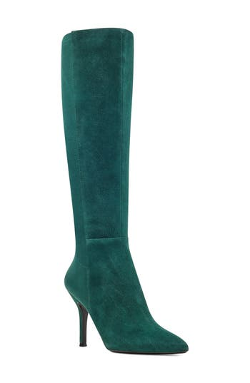 Nine West Fallon Pointy Toe Knee High Boot, Green