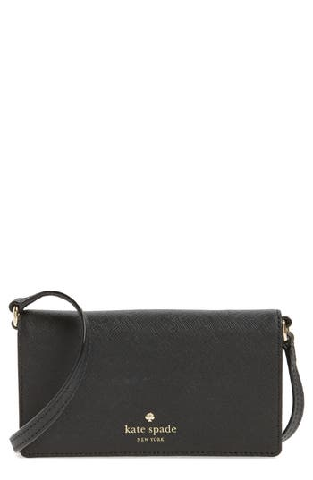 Kate Spade New York Iphone 7 Leather Crossbody Wallet - Black