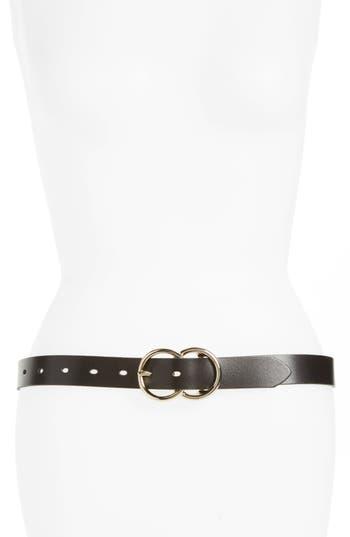 Halogen Double Ring Leather Belt, Black