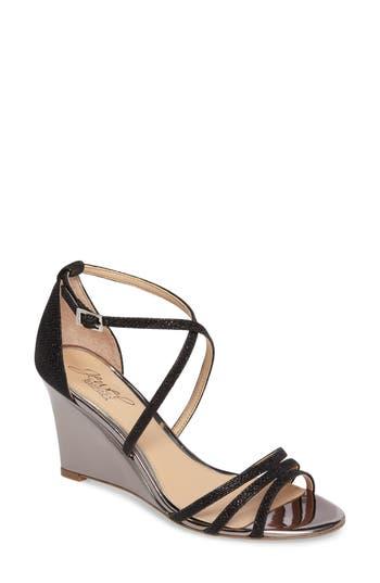 Jewel Badgley Mischka Hunt Glittery Wedge Sandal- Black