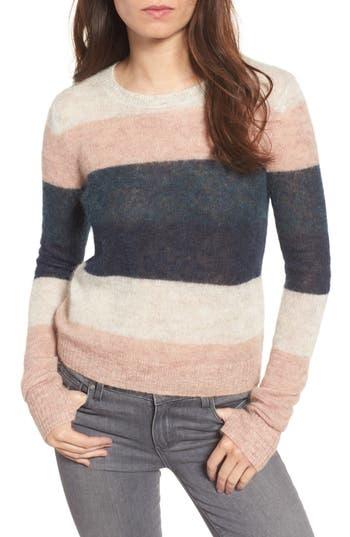 Women's Pam & Gela Stripe Alpaca Blend Sweater, Size Petite - Pink