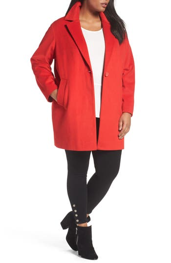 Plus Size Halogen Wool Blend Coat, Red