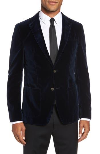 Men's Sand Trim Fit Velvet Blazer