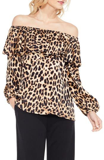 Women's Vince Camuto Off The Shoulder Animal Print Blouse