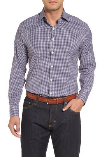 Men's Peter Millar Statler Regular Fit Check Performance Sport Shirt, Size Small - Blue