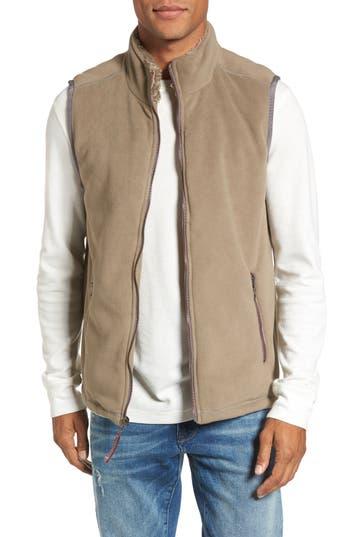 Men's True Grit Fleece Vest With Faux Fur Lining, Size Medium - Brown