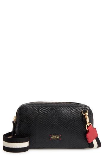 Frances Valentine Snakeskin Embossed Leather Crossbody Bag - Black
