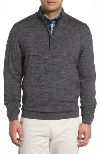 Big & Tall Cutter & Buck Henry Quarter-Zip Pullover Sweater, Black