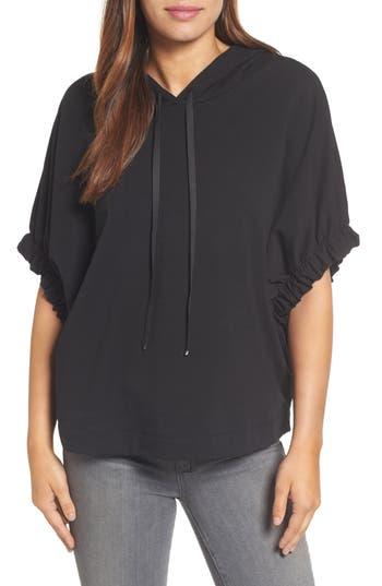 Women's Bobeau Gathered Sleeve Hoodie, Size X-Small - Black