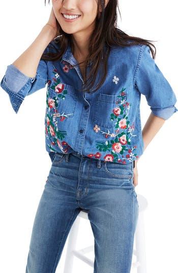 Women's Madewell Embroidered Denim Shirt