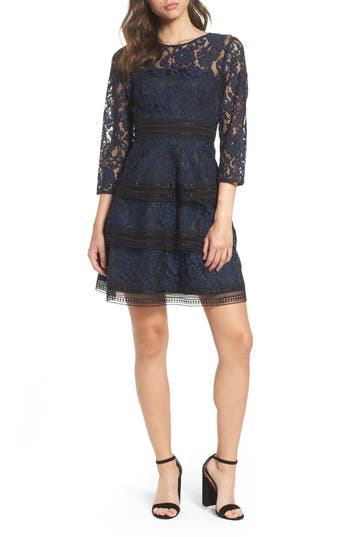 Petite Women's Eliza J Lace Fit & Flare Dress