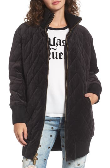 Women's Juicy Couture Velour Quilted Puffer Coat