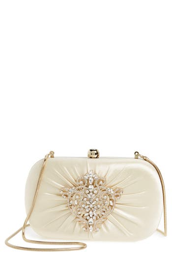 Badgley Mischka Diva Satin Clutch - Ivory