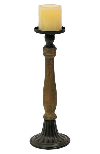 Foreside Large Spindle Pillar Candle Holder, Size One Size - Brown