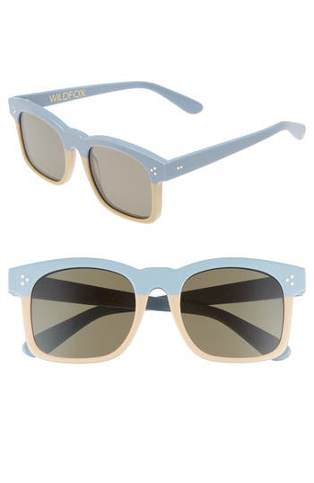 Wildfox Gaudy Zero 51Mm Flat Square Sunglasses - Baby Blue-Cream