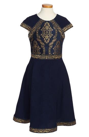 Girl's Tadashi Shoji Brocade Embroidery Party Dress