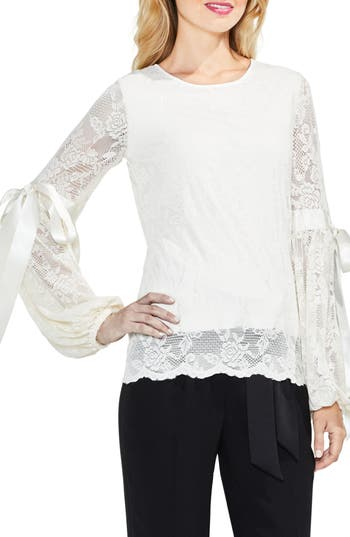 Women's Vince Camuto Tie Cuff Bubble Sleeve Floral Lace Top, Size Small - White