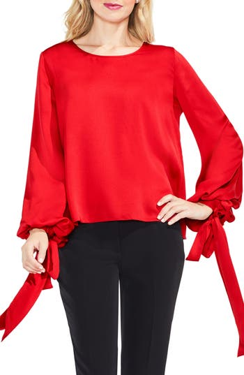 Women's Vince Camuto Tie Cuff Bubble Sleeve Blouse, Size XX-Small - Red