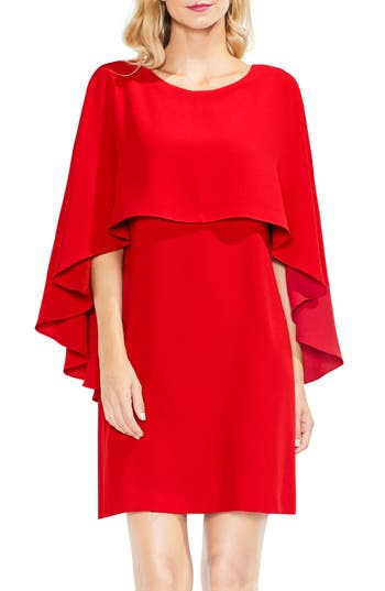 Vince Camuto Cape Overlay Dress, Red