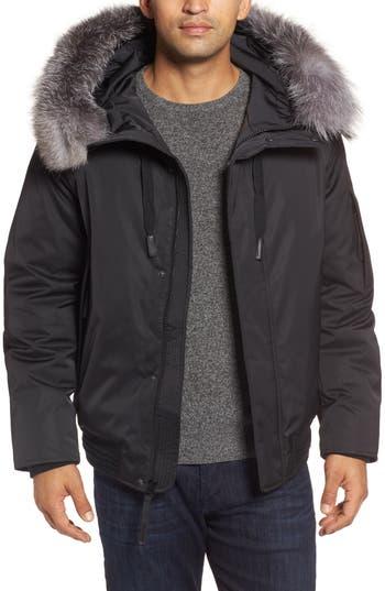 Andrew Marc Bomber Jacket With Genuine Fox Fur Trim, Black