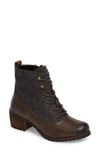 Aetrex Skyler Lace-Up Zip Bootie Grey