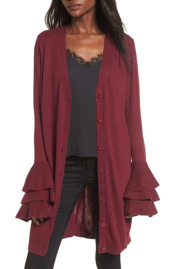 Women's Soprano Ruffle Sleeve Longline Cardigan, Size Medium - Burgundy