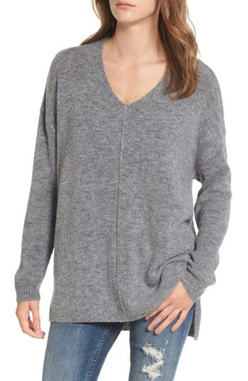 Women's Dreamers By Debut Exposed Seam Tunic Sweater, Size Medium - Grey