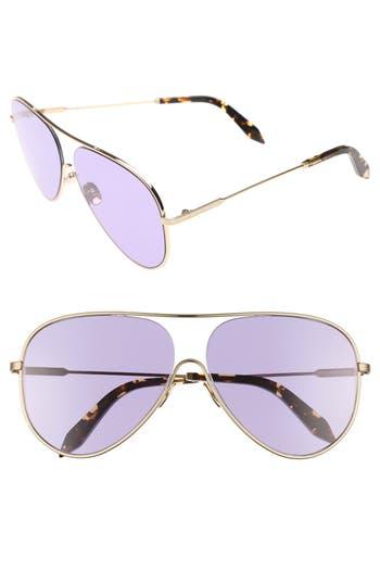 Victoria Beckham Loop 62Mm Oversize Aviator Sunglasses - Rose Bleu