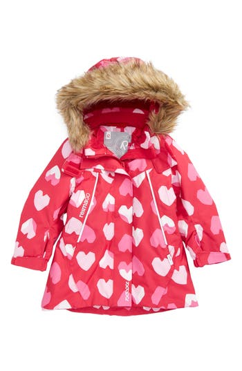 Toddler Girl's Reima Reimatec Waterproof Hooded A-Line Jacket With Faux Fur Trim