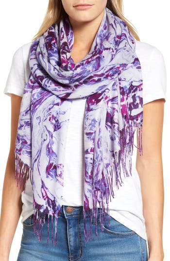 Women's Nordstrom Marble Tissue Wool & Cashmere Scarf, Size One Size - Purple