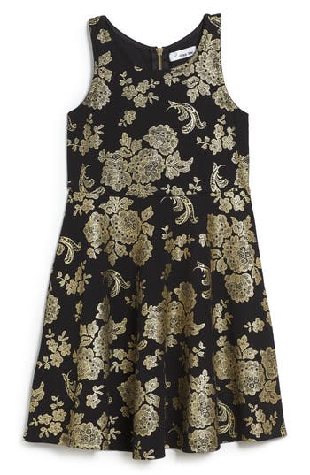 Girl's Love, Nickie Lew Foil Print Skater Dress