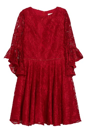 Girl's David Charles Bell Sleeve Lace Dress
