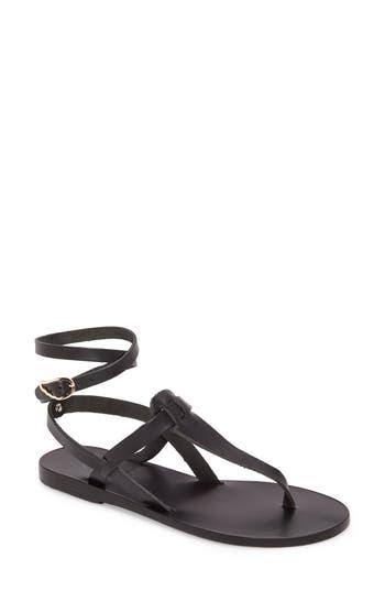 Women's Ancient Greek Sandals Estia Ankle Wrap Sandal, Size 5US / 35EU - Black